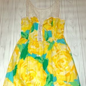 Lill Pulitzer Yellow and Blue Floral Dress